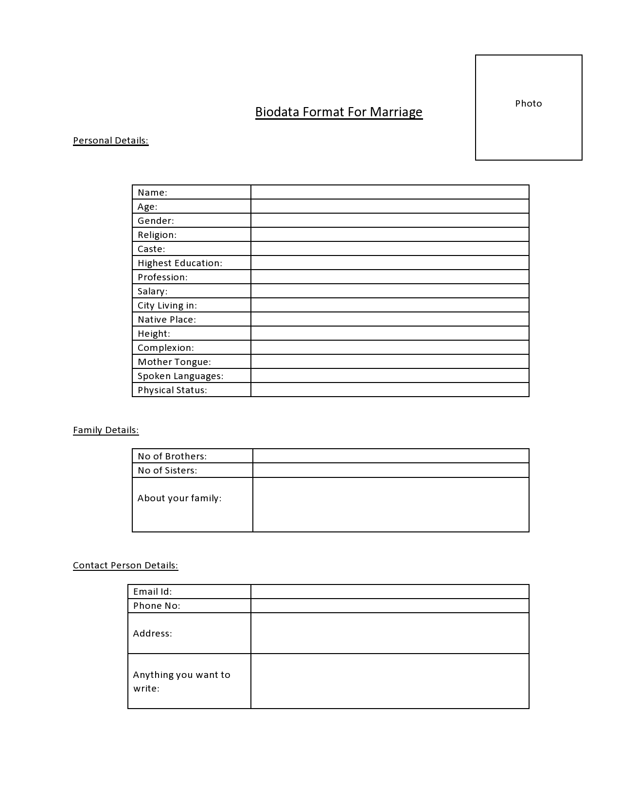 Biodata Format For Marriage  Free Download Biodata Format
